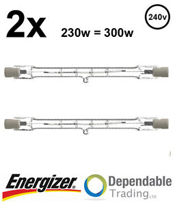2 x Energizer 230w = 300w Energy Saving Tungsten Floodlight lamp bulb 118mm R7s