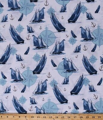Cotton Sail Away Boats Water Nautical Compass Anchors Fabric by the Yard D571.58, used for sale  Shipping to South Africa