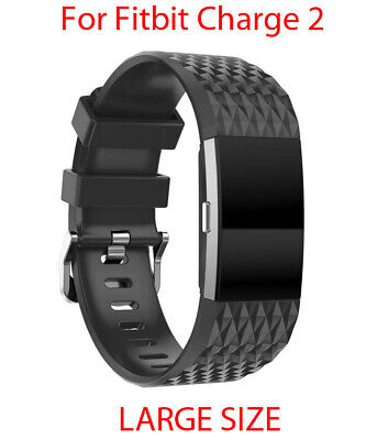 Band Strap For Fitbit Charge 2 Watch Luxury Silicone Black Replacement Large