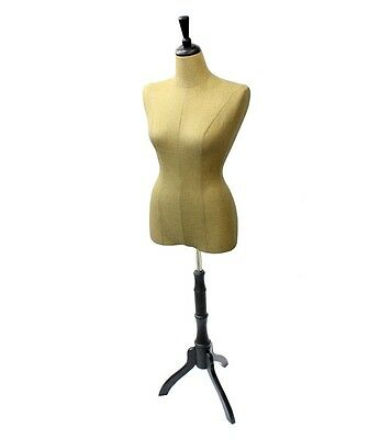 Female Mannequin Torso Dress Form Display Wide Black Tripod Stand LINEN Pinnable