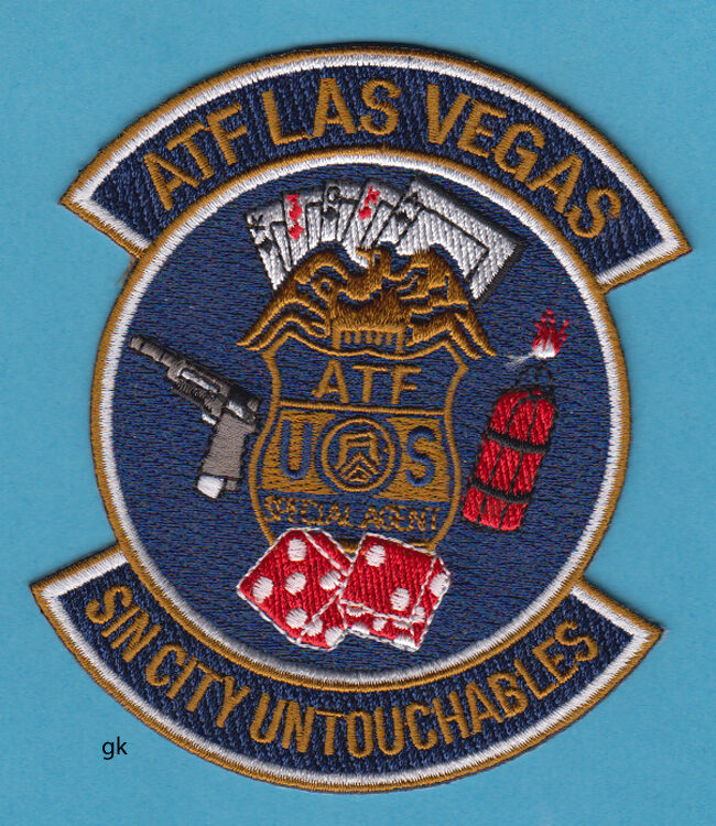 ATF SIN CITY LAS VEGAS NEVADA POLICE SHOULDER  PATCH   Alcohol Tobacco Firearms