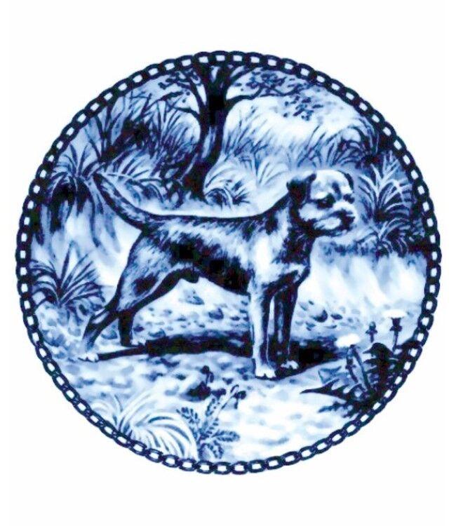 Danish Blue Border Terrier Dog Plate NEW #P7139 Made in Denmark Lekven Design