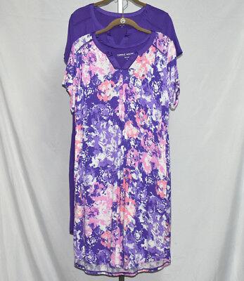 Carole Hochman Wood Block Floral Rayon Sleepshirt Set Sz S (Purple) #QVC661382