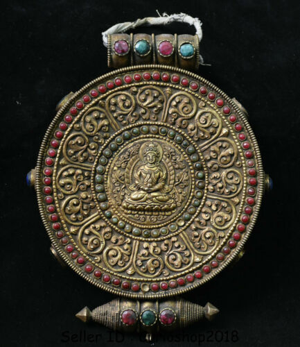 "10"" Antique Old Tibetan Buddhism Copper Gilt Amitayus Buddha Ghau Shrine Box"