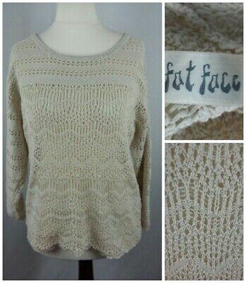 Fat Face size 12 14 beige crochet open knit cut-out top scallop hem cuffs cotton