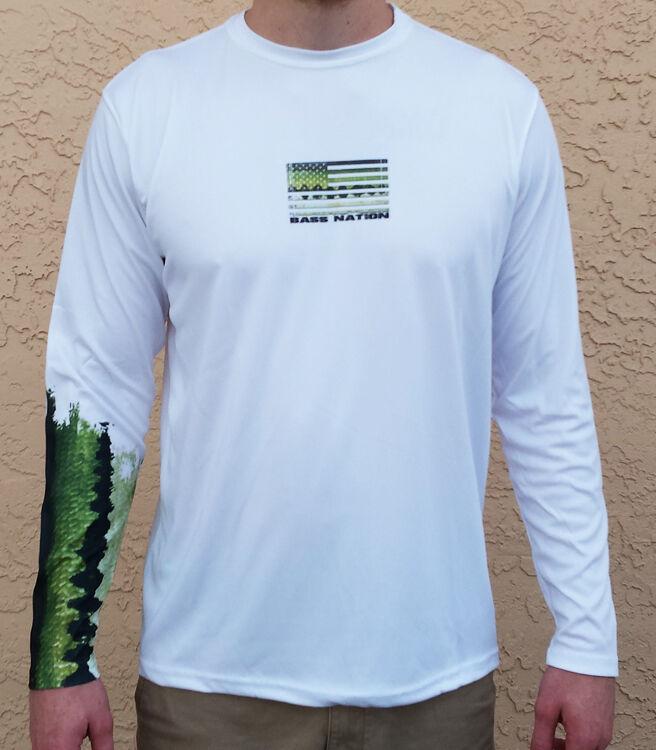Long Sleeve Microfiber UPF 50 Bass Fishing Shirt - Bass Nation - Bass Sleeve