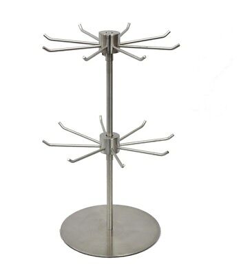 Counter Key Chain Spinner Display Rack Bracelet Stand - 2 Tier 8 Peg Chrome