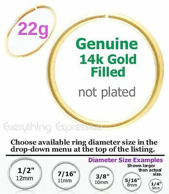 - 22g Thin 14k Gold Filled Seamless Hoop Ring Nose Ear Septum Tragus Cartilage