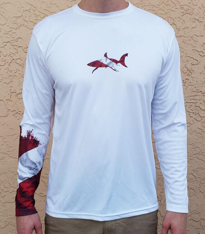 Long Sleeve Microfiber UPF 50 Scuba Dive Spear Fishing Shirt - Dive Flag Sleeve