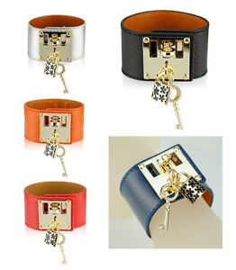 Women-Genuine-Leather-Key-Lock-Bracelet-Designer-Wide-Bangle-Cuff-Wristband-H-W