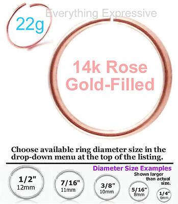 - 22g 14k Rose Gold Filled Seamless Hoop Ring Nose Ear Septum Tragus Cartilage