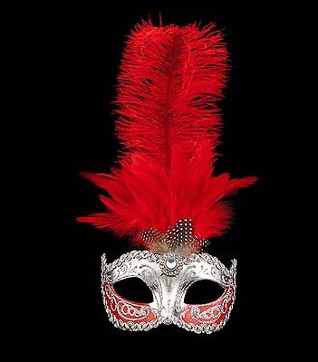 Mask Venice Colombine to Ostrich Feathers Red Silver Mask Venetian - 522