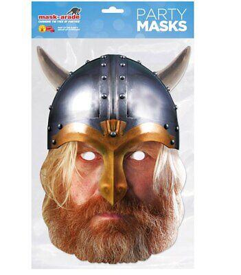 Viking with Helmet Historical Single 2D Card Party Face Mask Fancy Dress Up - Cardboard Viking Helmet