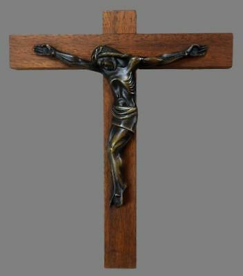 Mid Century French Wood and Bronze Large Wall Crucifix cross