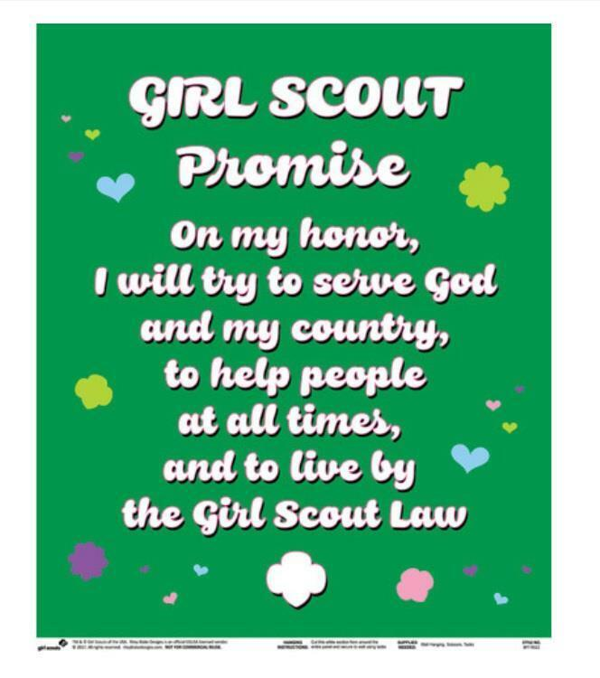 Girl Scouts of America Felt Panel Roll Wall Hanging The Promise Troop Decoration