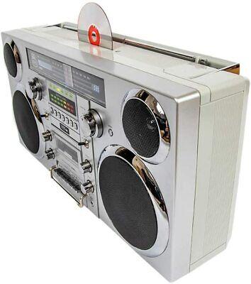 (Boombox) GPO BROOKLYN 80's Retro Bluetooth Silver - 80 Watts, CD, Cass, FM, USB