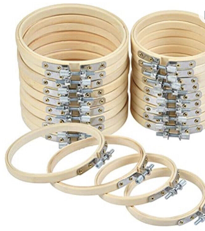 WOWOSS 20 Pieces 3 Inch & 4 Inch Embroidery Hoops Wooden Round Adjustable Bamboo