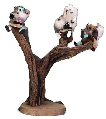 "Hopi Native American Kachina Doll Carved Badger Fam Tree W/ Kynishu Bear 20x16"""