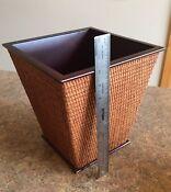 4 Piece Executive Desktop Office Organizer Storage Set Wood & Rattan