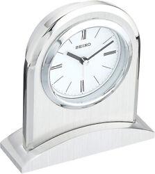 Seiko Westchester Silver Tone Metal Case  Executive Alarm Clock QHE163SLH