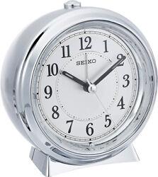 Seiko Preston Silver Tone Quiet Sweep Snooze Alarm Clock QHE132SLH