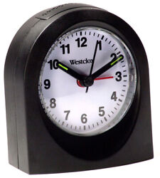 Westclox Echo Analog Quartz Travel Snooze Black Alarm Clock 47312