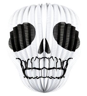 Totenkopf Laterne schwarz-weiß NEU - Partyartikel Dekoration Karneval Fasching
