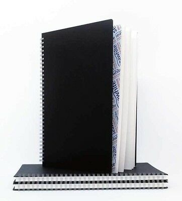 SEAWHITE A3 -297x420mm Portrait Euro Sketchbook, Black Poplin 160gsm Wire Spine