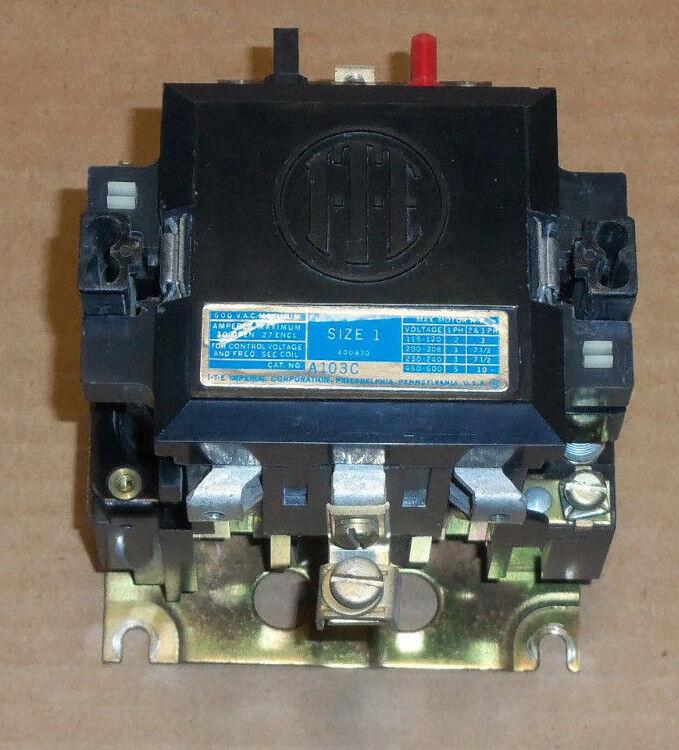 ITE Siemens A103C Nema Size 1 Motor Starter 3 Phase 600v 27 Amp 10HP 120V Coil