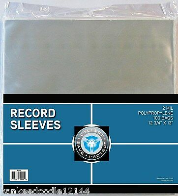 (300) New CSP 33 1/3 RPM Record Album Clear Polypropylene Sleeves