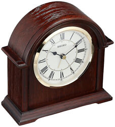 Seiko Ryan Quartz Oak Wooden Case Mantel Alarm Clock QXE050BLH