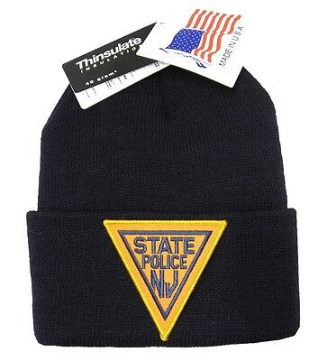New Jersey State Police Patch Knit Cap - 40g Thinsulate Insulation - Navy Blue