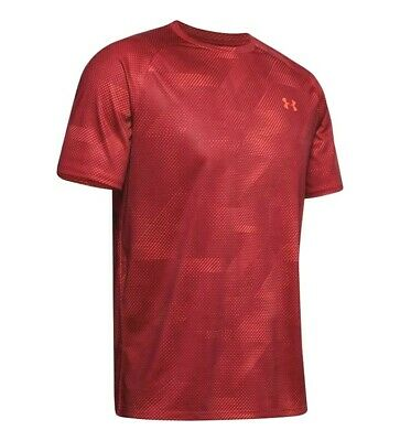 Under Armour Mens Tech 2.0 Printed Crew Neck Sports Gym T-Shirt Red