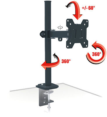 Monitor TV Single Desk Mount Bracket Stand HD LCD LED OLED 13 18 19 20 26 27