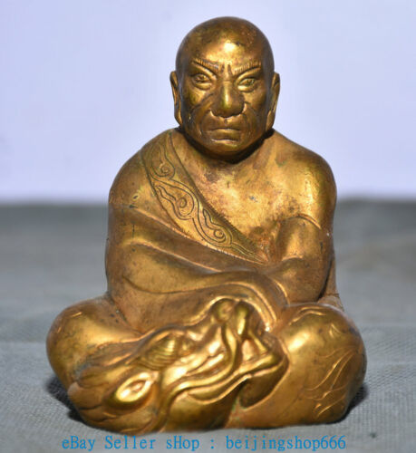"3"" Old China Copper Gold eighteen subdue Dragon arhat Buddha Statue"