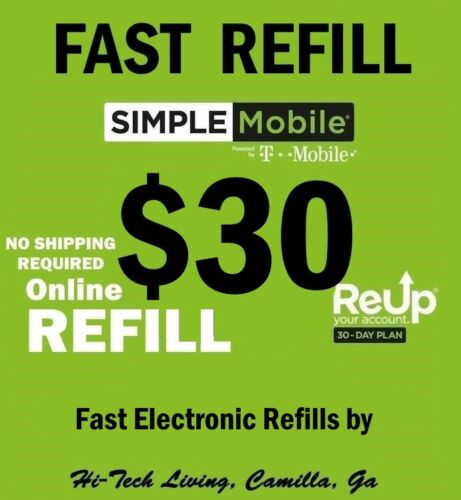 $30 SIMPLE MOBILE PREPAID >>FASTEST<< REFILL RE-UP DIRECT > TRUSTED USA SELLER <