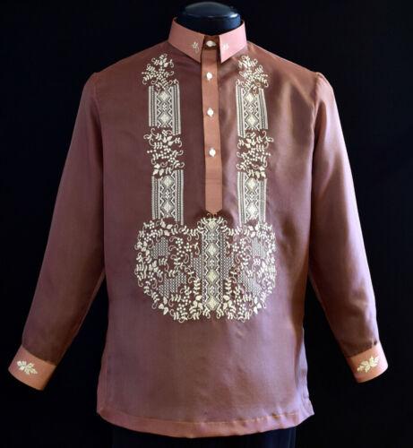 Barong Tagalog Filipino Formal Shirt - New Shirt size Medium Brown Color