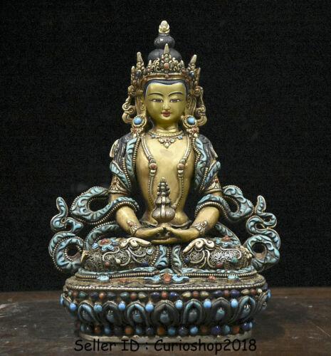 "9"" Old Tibet Copper Gilt Silver Wire turquoise Amitayus Goddess Buddha Statue"