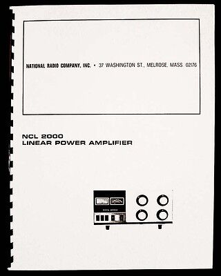 National Ncl-2000 Ncl 2000 Linear Amplifier Manual