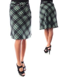 new below knee length a line flare skirt with belt green