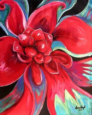 RED FLOWER Modern Original Art PAINTING DAN BYL Collector Investment Canvas XXL