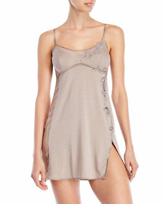 La Perla Lace Inset Baby Doll L Taupe Side Slit Modal Silk New - Modal Baby Doll