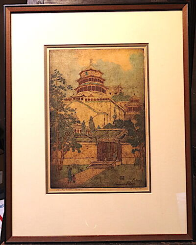 CHARLES W. BARTLETT,PEKING SUMMER PALACE,33/75, HAND COLORED ETCHING WOOD BLOCK
