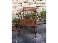 Antique Elm and Beech Smokers Bow Chair