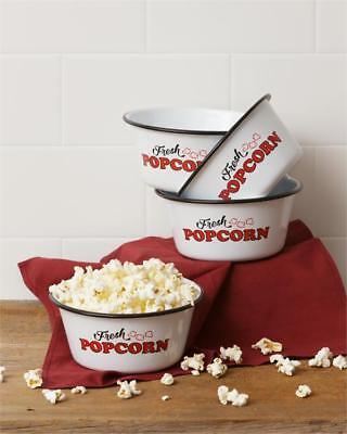 - New White Red Enamel Retro Vintage Style SET 4 FRESH POPCORN BOWL Dish