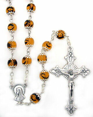 NEW MADE IN ITALY CAPPED AMBER BEAD ROSARY MADONNA IN THE STARS CENTER