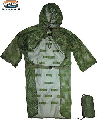 LIGHTWEIGHT MESH CONCEALMENT VEST GHILLIE SUIT SNIPER CAMOUFLAGE HUNTING ARMY  - Lightweight Mesh Suit