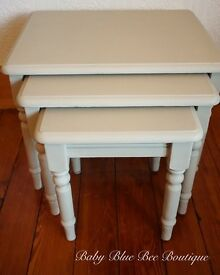 Neutral Vintage Side Nest Tables Shabby Chic Cream Beige Grey