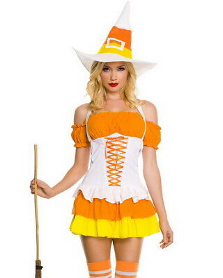 Candy Corn Costumes (WITTY CANDY CORN CUTIE WITCH  S/M Sexy Deluxe Women's Music Legs Witch)