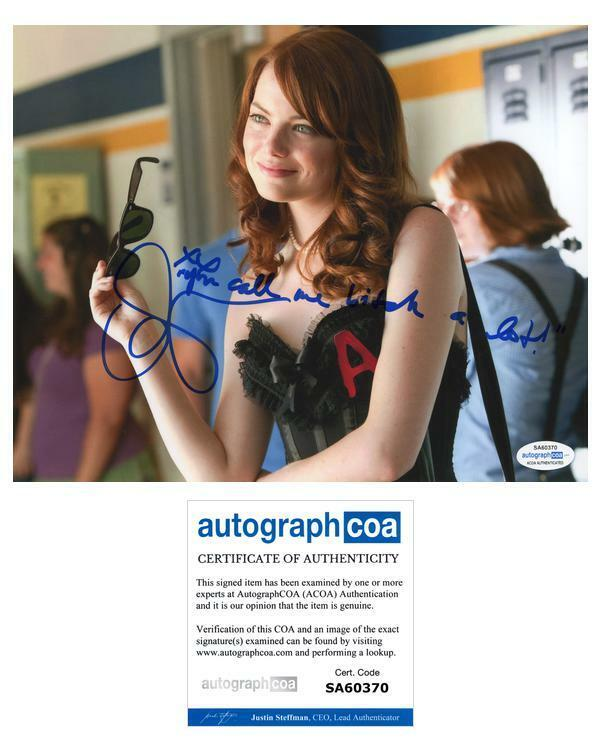 Emma Stone Easy A Autographed Signed 8x10 Photo Handwritten Movie Quote ACOA